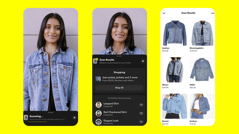 A mockup of how Snapchat's augmented reality clothing scanning feature will work.