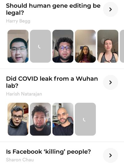 A screenshot of the Explore tab on Polemix. Three questions are listed: Should human gene editing be legal, did COVID leak from a Wuhan lab, and is Facebook killing people?