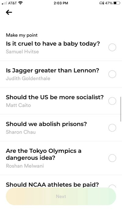 A screenshot of Polemix's list of debatable questions. Each leader is credited for their question. Questions include: Is it cruel to have a baby today (by Samuel Hvitse), Is Jagger greater than Lennon (by Judith Goldenthale), Should the US be more socialist (by Matt Caito), Should we abolish prisons (by Sharon Chau), Are the Tokyo Olympics a dangerous idea (by Roshan Melwani), and Should NCAA athletes be paid?