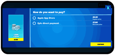 """Screenshot of Epic's """"Direct Pay"""" option on Fortnite for iOS"""
